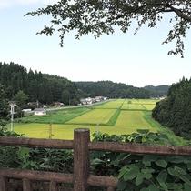 *ふれあい広場/小高い丘の上からは、のどかな田園風景が見渡せます。