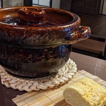 朝食 近江米の土鍋ごはん