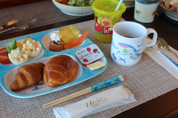キッズプレート 幼児のお子様の朝食一例 ~ いっぱい食べていっぱい遊ぼう ~