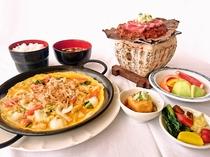 夕食例 (朴葉味噌ステーキ・漬物ステーキ)