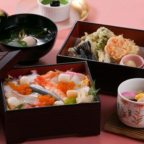 〈大満足!海鮮ちらし寿司と天麩羅御膳〉1日限定10食ボリューム満点のランチメニュー♪