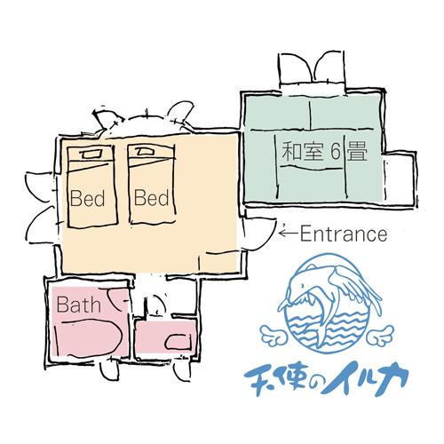 【海側】1階・和洋室(バリアフリー/バストイレ独立)見取り図
