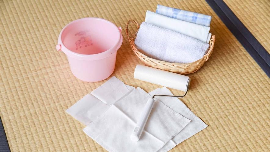 *【客室/わんちゃん同伴】お部屋用のぺットシート、お散歩用足拭きタオル、エチケット袋2枚をご用意。