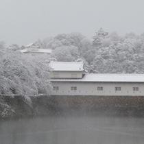 雪が舞う彦根城お堀