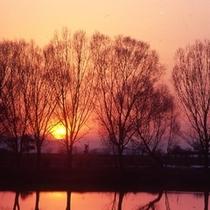 夕日が沈む彦根市内