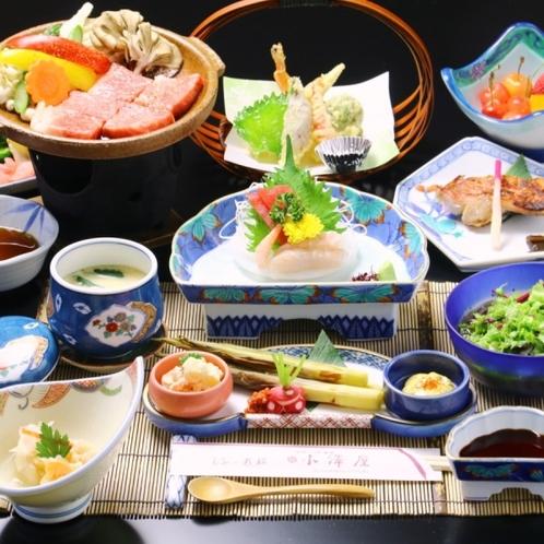 ☆料理_夕食_全体_ステーキ+天ぷら