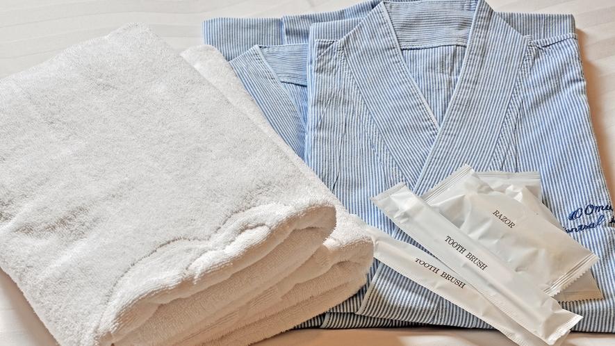 【全客室】浴衣・バスタオル・ハンドタオル・歯ブラシ・ブラシをご用意しております