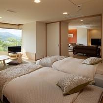特別室月物語『明月』ベッドルーム。寝具はシモンズ社のベッドとエアウィーヴ社のマットレスパッドを使用。
