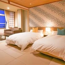 【東館ツインベッドルーム(一例)】広々した客室に、ゆったりベッド。ながめも抜群のお部屋です。