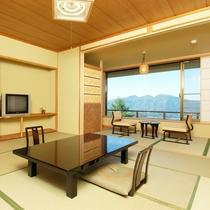 東館4F・展望客室12畳】全2室。大きな窓から伊香保随一の四季折々の景色が飛び込んできます。
