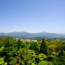 【お部屋からの眺め】 赤城山や谷川連峰、遠くは日光連山を望む大パノラマです。