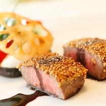 ディナーの肉料理