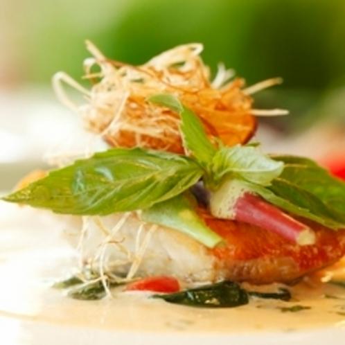 ディナーの魚料理