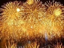 長浜・北びわこ大花火大会。打上げ場所はホテル前。大迫力を体感ください