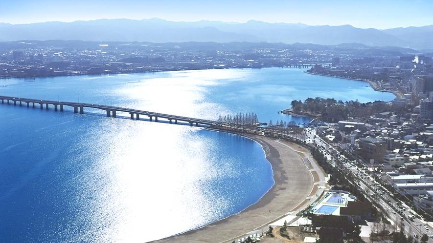 ホテルから見える近江大橋