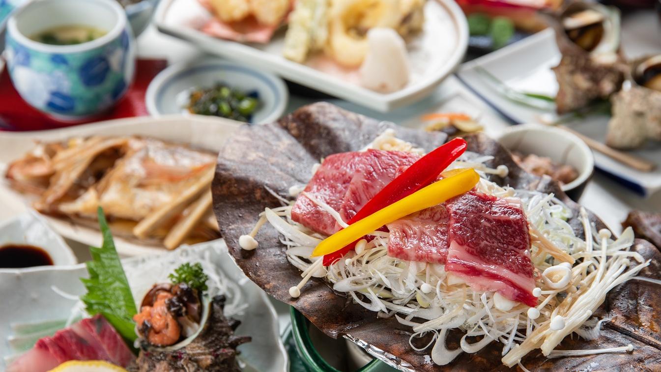 *【スタンダード夕食一例新鮮な旬の海の幸に、島根和牛の朴葉焼が付いた満足会席。