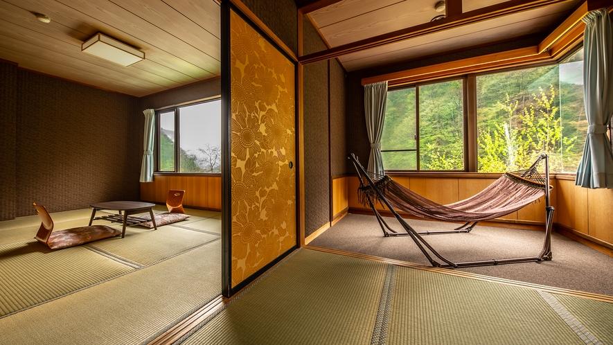 客室【柿】和室4.5畳+7.5畳 お布団敷きののんびりくつろげるお部屋♪