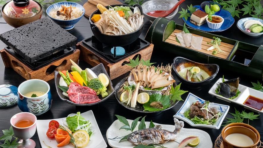【お夕食】あわび煮貝・和牛の富士山溶岩焼き・ほうとうなど自慢の郷土料理をご用意