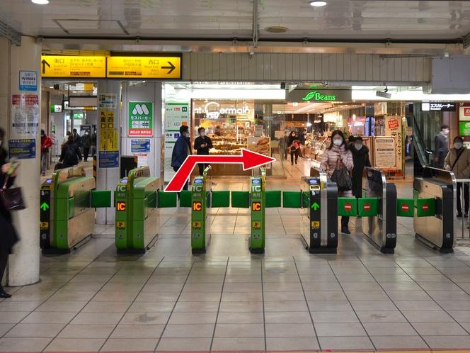 【道案内】①JR西川口駅の改札を出て右(西口方面)に進みます