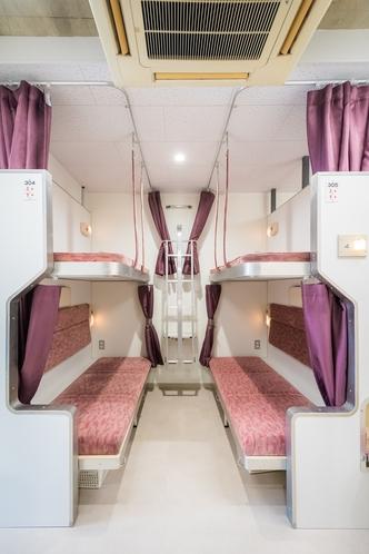 3階元B寝台です☆3-4名のグループさんはなるべく4人一区画にお手配いたします。