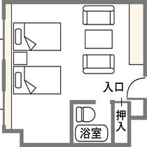 上層階ツインルーム(禁煙)