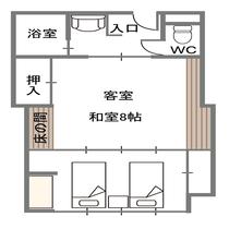 和モダンルーム(ツインベッドと8畳)(禁煙)
