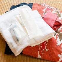 *【客室アメニティ一例】バスタオル、タオル、浴衣、歯磨きセット、ブラシ、カミソリ等