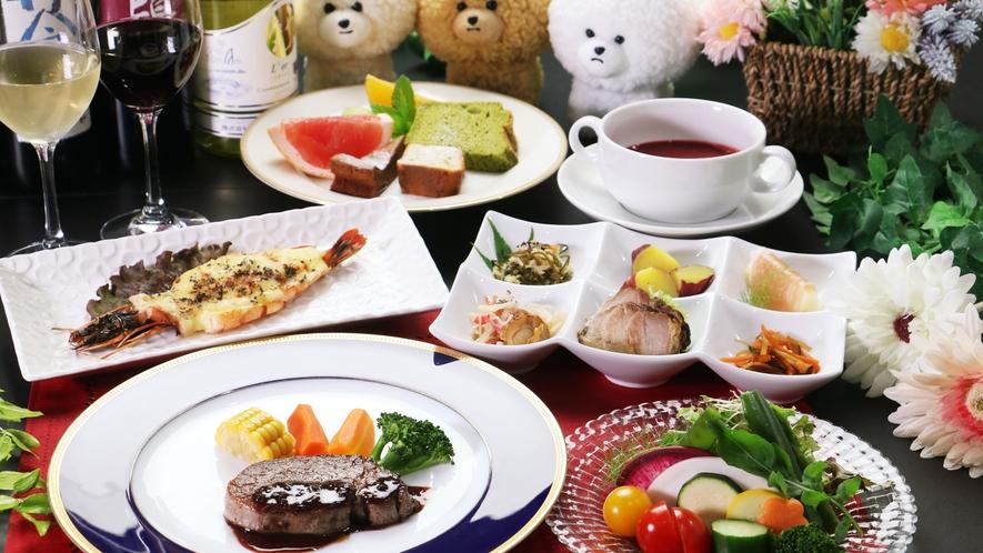 【ご夕食一例-牛ヒレステーキ】 福島牛ヒレステーキをメインに、素材の味が堪能できるコースです。