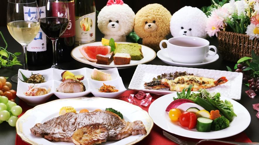 【ご夕食一例-サーロイン&フォアグラ】サーロインにフォアグラが付いた最上級のご夕食をご賞味ください