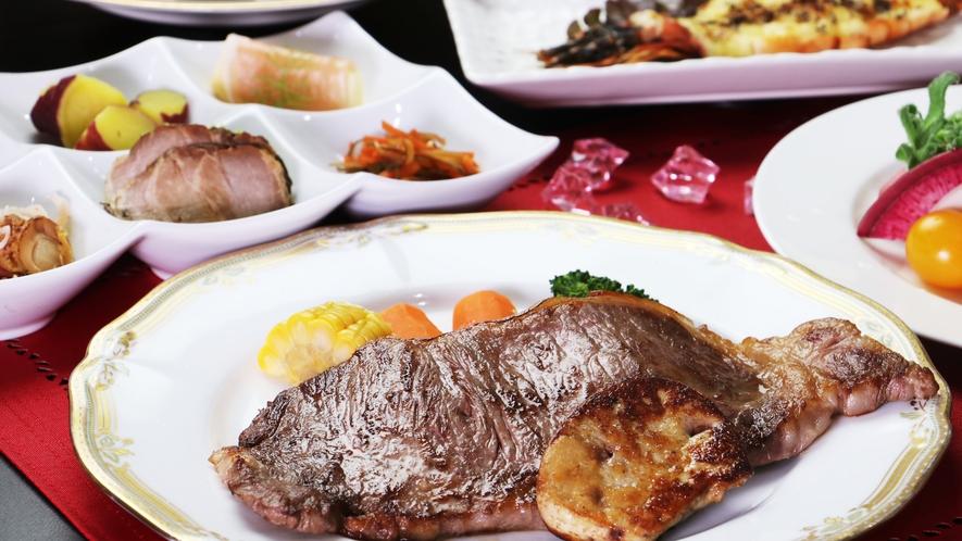 【ご夕食一例-サーロイン&フォアグラ】お肉好きにはたまらない!サーロイン200g+フォアグラ