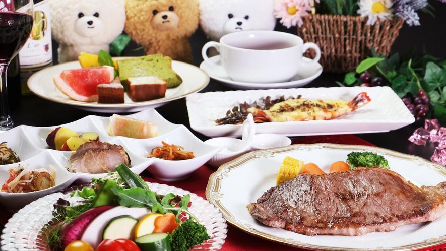 【ご夕食一例-サーロインステーキ】一番人気!福島牛のサーロインステーキ200g付のフルコースディナー