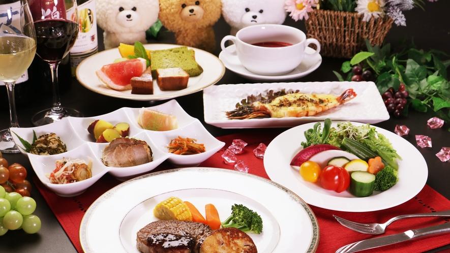 【ご夕食一例-ヒレ&フォアグラ】会津の新鮮食材の魅力を最大限に引き出した地中海風のご夕食です♪