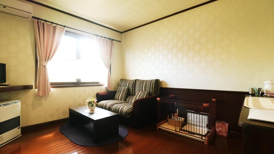 【客室一例】清潔さを保って、ワンちゃんにも寛いでいただけるよう心がけています。