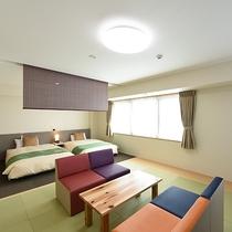 *【デラックス和洋室】広さ:36~45平米 120cmベッド2台と和室を設置したお部屋
