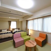 *【高層階ツイン+4畳半部屋】広さ:30平米 120cmベッド2台と4畳半のお部屋。