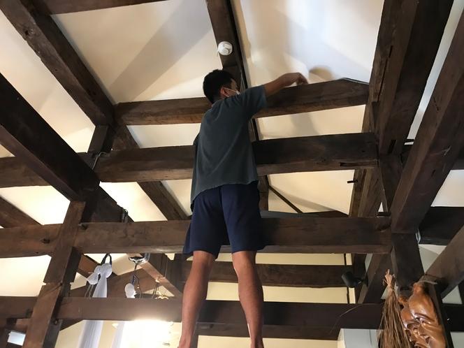 天井拭き掃除