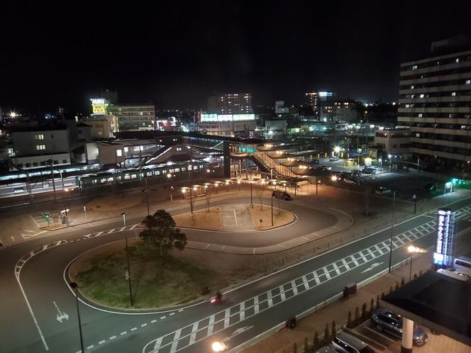 夜の西鉄柳川駅