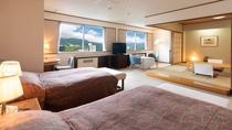 【和洋室】情緒あふれる落ち着いた和室を、モダンで機能的な洋間が包み込むように配置された特別室