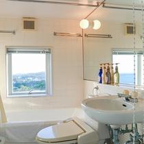 *バスルーム一例/全室洗浄付きトイレとバスタブ付き!窓から読谷の景色もご覧いただけます