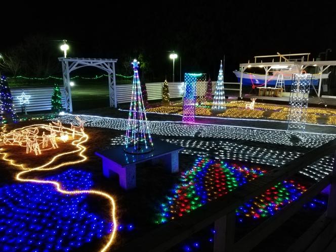 冬季はイルミネーション点灯中!! 毎年イルミネーションは変わります。(平成30年 12月撮影)