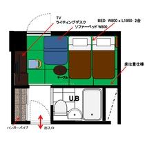 ジャパニーズツイン(禁煙・喫煙)13.5㎡ 間取り図