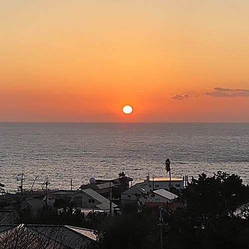 BBQテラスから、見える夕日