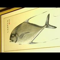 イトヒキアジの魚拓 旦那が漁師をやっております