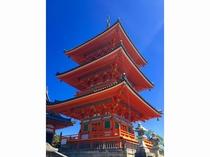 清水寺 三重塔2 京都まで当館すぐのバス停より直通高速バス約45分 (1時間に1本運行)
