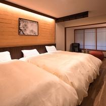 【町家スタイル◇板の間】格子や風情、宮島の伝統的な町屋をお部屋で表現いたしました。