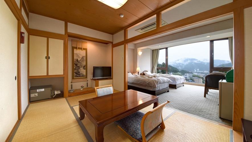 *【和洋室14畳】最上階&角部屋。当館で最高の眺望が自慢の和洋室です