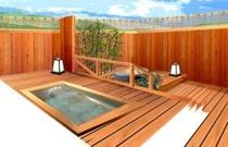 貸切露天風呂(イメージ画像)ヒノキ造りと陶器、2つお風呂を同時に貸切できます。