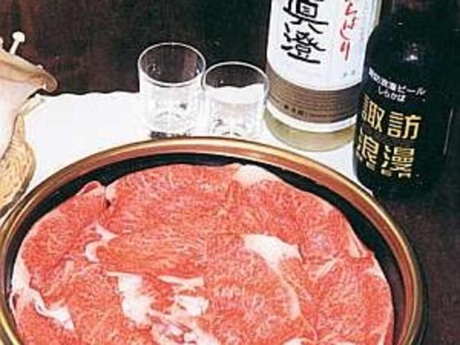 霜降り肉と地ビール