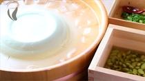 枝豆の豆乳を使って作った豆腐です。