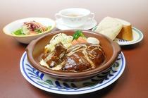 【レストラン福鶴亭】 煮込みハンバーグとビーフシチューセット
